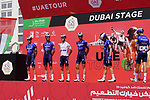 Deceuninck-Quick Step at sign on before the start of Stage 6 of the 2021 UAE Tour running 165km from Deira Island to Palm Jumeirah, Dubai, UAE. 26th February 2021.  <br /> Picture: Eoin Clarke   Cyclefile<br /> <br /> All photos usage must carry mandatory copyright credit (© Cyclefile   Eoin Clarke)
