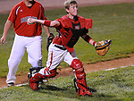 20 August 10: Maryland catcher Tyler Stockwell fields a bunt and throws to first in the Cal Ripken Babe Ruth World Series 12U Majors in Aberdeen, Maryland