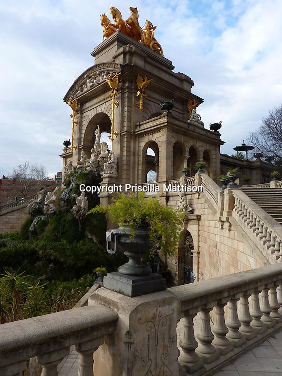Barcelona, Spain - January 31, 2011:  An urn and statues embellish the Font de la cascada in Parc de la Ciutadella.