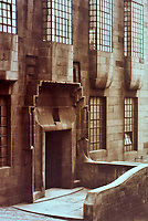 Glasgow School of Art, Charles Rennie Mackintosh--detail of door and windows. Art Nouveau style.