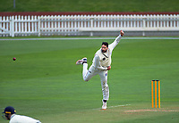 Auckland's Will Somerville bowls during day two of the Plunket Shield cricket match between the Wellington Firebirds and Auckland at Basin Reserve in Wellington, New Zealand on Saturday, 9 November 2019. Photo: Dave Lintott / lintottphoto.co.nz