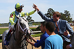 April 11, 2015: Jockey John Velazquez aboard Race Day celebrating after winning the Oaklawn Hanicap at Oaklawn Park in Hot Springs, AR. Justin Manning/ESW/CSM