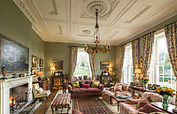 BNPS.co.uk (01202) 558833. <br /> Pic: Duke's/BNPS<br /> <br /> Pictured: The drawing room of Wormington Grange featuring the important Empire chandelier which has an estimate of £25,000. <br /> <br /> The lavish contents of one of Britain's most beautiful stately homes are being auctioned off in a £1m everything must go sale.<br /> <br /> Wormington Grange has been owned since the 1970s by John Evetts, the grandson of Lord Ismay, Winston Churchill's chief military strategist during World War Two.<br /> <br /> Mr Evetts has sold the £15m neoclassical Cotswolds mansion as he is downsizing to a smaller property in the area.<br /> <br /> The sale, to be conducted by Duke's, of Dorchester, Dorset, features over 1,000 items ranging in value from £50 kitchen glasses to £100,000 works of art.