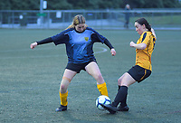 Action from the College Sport Wellington premier two girls football match between Wellington Girls' College and Sacred Heart College at Wakefield Park in Wellington, New Zealand on Saturday, 19 August 2020. Photo: Dave Lintott / lintottphoto.co.nz
