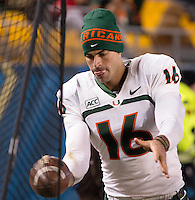 Miami punter Pat O'Donnell. The Miami Hurricanes defeated the Pitt Panthers 41-31 at Heinz Field, Pittsburgh, Pennsylvania on November 29, 2013.