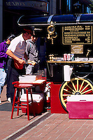 Outdoor Fast Food Street Vendor on Sidewalk in Victoria, BC, Vancouver Island, British Columbia, Canada