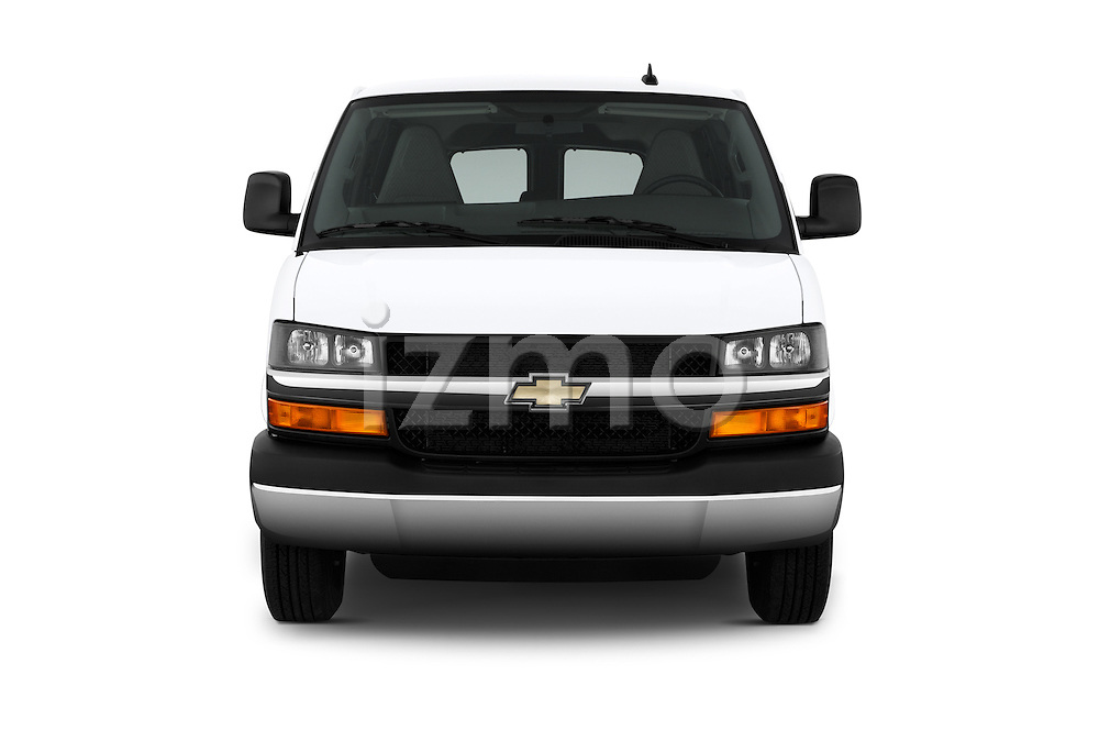 Car photography straight front view of a 2016 Chevrolet Express 3500-LS 4 Door Passenger Van Front View