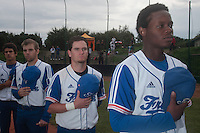 18 August 2010: Jean Antonio Samer, Jorge Hereaud, Sebastien Duchossoy, Maxime Lefevre are seen during the national anthem prior to the France 7-3 win over Ukraine, at the 2010 European Championship, under 21, in Brno, Czech Republic.