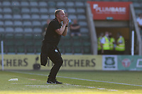Steve Cooper Head Coach of Swansea City shouts instructions to his team from the dug-out during the Pre season friendly match between Plymouth Argyle and Swansea City at Home Park in Plymouth, England, UK. Tuesday 20 July 2021