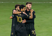 22nd December 2020, Orlando, Florida, USA;  LAFC Diego Rossi (9) scores the first goal  of the game and celebrates during the Concacaf Champions League Final between the LAFC and Tigres on December 22, 2020 at Explorer Stadium in Orlando, FL.