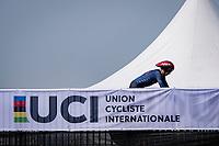 Brandon McNulty (USA/UAE Emirates) getting onto the start ramp<br /> <br /> Men Elite Individual Time Trial <br /> from Knokke-Heist to Bruges (43.3 km)<br /> <br /> UCI Road World Championships - Flanders Belgium 2021<br /> <br /> ©kramon