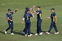 Scott Currie of Hampshire celebrates with his team mates after taking the wicket of Adam Wheater during Hampshire Hawks vs Essex Eagles, Royal London One-Day Cup Cricket at The Ageas Bowl on 22nd July 2021