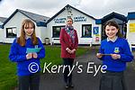 Eilís Nic Lonnrachtaigh left and Caitríona Ní Mhurchú with their Principal Teresa Lonergen  An Craobh Réigiúnach Comórtas Óride an Phiarsaigh le Gael Linn