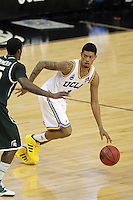 UCLA Bruins Tyler Lamb #1 drives during the second round game of the NCAA Basketball Tournament at St. Pete Times Forum on March 17, 2011 in Tampa, Florida.  UCLA defeated Michigan State 78-76.  (Mike Janes/Four Seam Images)