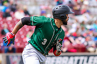 Great Lakes Loons third baseman Jared Walker (3) rounds first base during a Midwest League game against the Wisconsin Timber Rattlers on May 12, 2018 at Fox Cities Stadium in Appleton, Wisconsin. Wisconsin defeated Great Lakes 3-1. (Brad Krause/Four Seam Images)