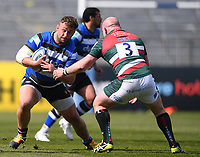 18th April 2021 2021; Recreation Ground, Bath, Somerset, England; English Premiership Rugby, Bath versus Leicester Tigers; Dan Cole of Leicester Tigers tackles Will Stuart of Bath