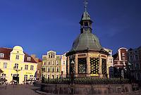 Germany, Wismar, Europe, Mecklenburg-Pomerania, Wasserkunst at Markt in downtown Wismar
