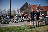 checking out Mathieu Van der Poel (NED/Alpecin-Fenix) on the Kluisberg<br /> <br /> 76th Dwars door Vlaanderen 2021 (MEN1.UWT)<br /> 1 day race from Roeselare to Waregem (184km)<br /> <br /> ©kramon