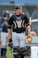 Pittsburgh Pirates catcher Taylor Gushue (49) during an Instructional League game against the Tampa Bay Rays on September 27, 2014 at the Charlotte Sports Park in Port Charlotte, Florida.  (Mike Janes/Four Seam Images)