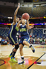 Apr 6, 2013; Notre Dame Skylar Diggins goes up for a shot as teammate Ariel Braker defends during practice the day before the semifinals against Connecticut of the 2013 NCAA women's basketball Final Four at the New Orleans Arena. Photo by Barbara Johnston/ University of Notre Dame