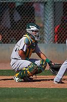 Oakland Athletics Santiago Chavez (22) during an instructional league game against the Los Angeles Angels on October 9, 2015 at the Tempe Diablo Stadium Complex in Tempe, Arizona.  (Mike Janes/Four Seam Images)