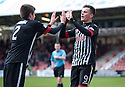 Par's Lawrence Shankland (9) celebrates with Ryan Williamson after he scores their first goal.