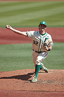 Charlotte 49ers starting pitcher Andrew Lindsey (32) in action against the Old Dominion Monarchs at Hayes Stadium on April 25, 2021 in Charlotte, North Carolina. (Brian Westerholt/Four Seam Images)