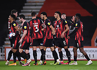 12th January 2021; Vitality Stadium, Bournemouth, Dorset, England; English Football League Championship Football, Bournemouth Athletic versus Millwall; Dominic Solanke of Bournemouth celebrates with his team after scoring in the 40th minute 1-0