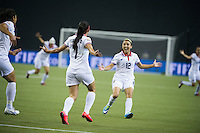 MONTREAL, Canada - Saturday June 13, 2015: Melissa Herrera scores the first goal for Costa Rica.  Costa Rica takes on Korea Republic  in Group E at the Women's World Cup Canada 2015 at Olympic Stadium in Montreal, Quebec, Canada.