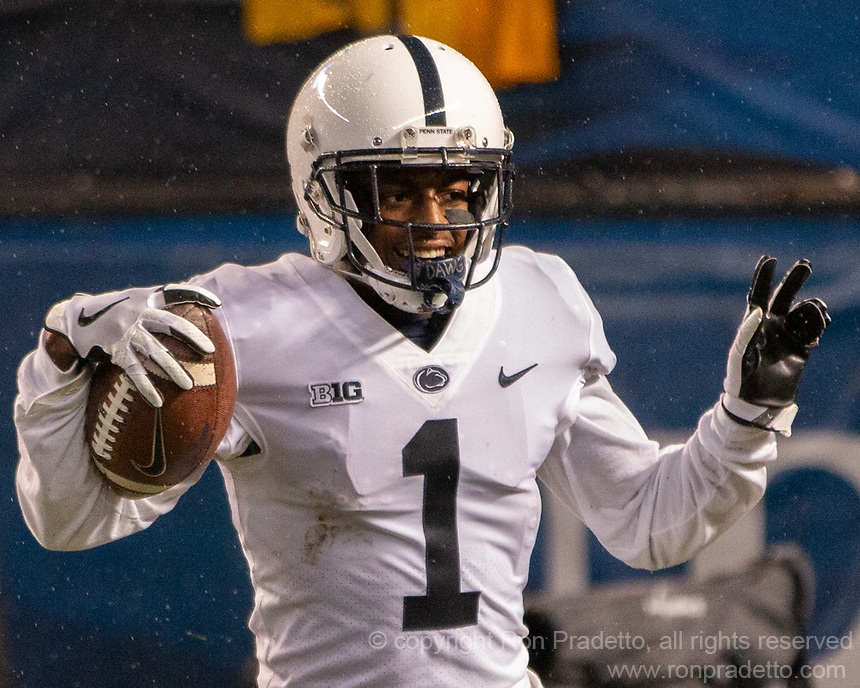 Penn State wide receiver KJ Hamler celebrates his 32-yard touchdown run. The Penn State Nittany Lions defeated the Pitt Panthers 51-6 on September 08, 2018 at Heinz Field in Pittsburgh, Pennsylvania.
