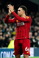 Liverpool's Trent Alexander-Arnold applauds travelling fans after the match<br /> <br /> Photographer Stephanie Meek/CameraSport<br /> <br /> The Premier League - Tottenham Hotspur v Liverpool - Saturday 11th January 2020 - Tottenham Hotspur Stadium - London<br /> <br /> World Copyright © 2020 CameraSport. All rights reserved. 43 Linden Ave. Countesthorpe. Leicester. England. LE8 5PG - Tel: +44 (0) 116 277 4147 - admin@camerasport.com - www.camerasport.com