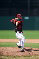 Batavia Muckdogs relief pitcher Shane Sawczak (21) delivers a pitch during a game against the Tri-City ValleyCats on July 16, 2017 at Dwyer Stadium in Batavia, New York.  Tri-City defeated Batavia 13-8.  (Mike Janes/Four Seam Images)