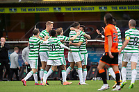 22nd August 2020; Tannadice Park, Dundee, Scotland; Scottish Premiership Football, Dundee United versus Celtic; Albian Ajeti of Celtic is congratulated after scoring for 1-0 by Nir Bitton and team mates