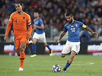 International friendly football match Italy vs The Netherlands, Allianz Stadium, Turin, Italy, June 4, 2018. <br /> Italy's Lorenzo Insigne (r) in action with Netherlands' Virgil Van Dijk (l) during the international friendly football match between Italy and The Netherlands at the Allianz Stadium in Turin on June 4, 2018.<br /> UPDATE IMAGES PRESS/Isabella Bonotto