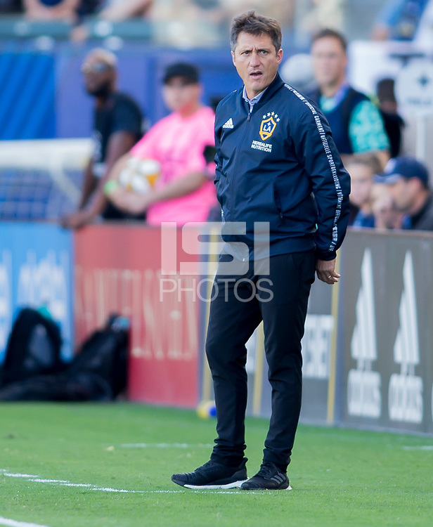 CARSON, CA - SEPTEMBER 29: Los Angeles Galaxy Manager Guillermo Barros Schelotto during a game between Vancouver Whitecaps and Los Angeles Galaxy at Dignity Health Sports Park on September 29, 2019 in Carson, California.