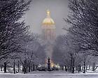 February 17, 2018; Main Quad on a snowy night (Photo by Matt Cashore/University of Notre Dame)
