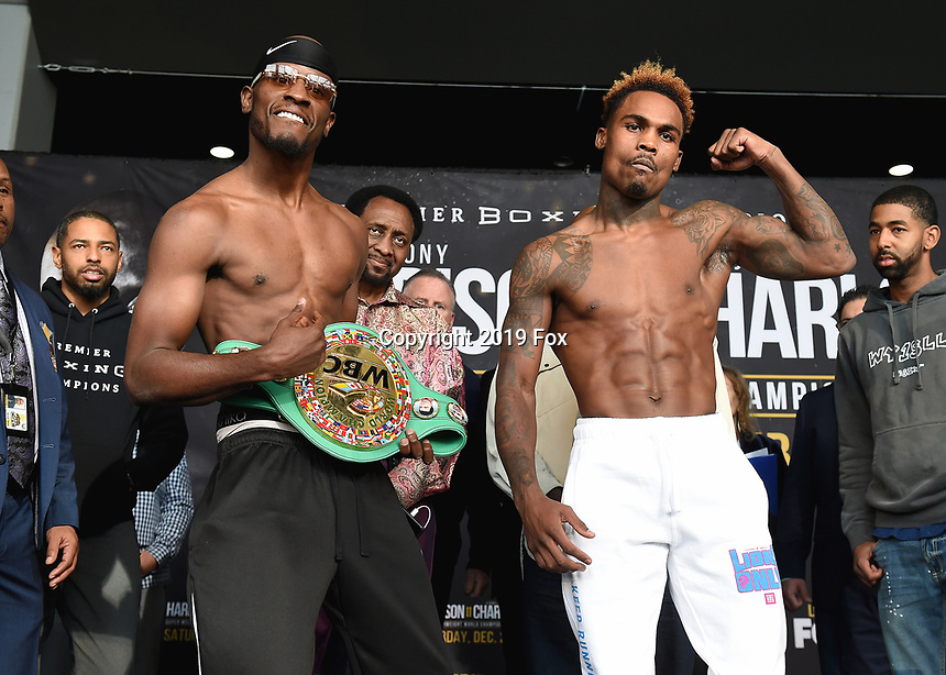 "ONTARIO - DECEMBER 20:  Tony Harrison and Jermell Charlo at  the weigh in for the December 21 fight on the Fox Sports PBC ""Harrison v Charlo"" on December 20, 2019 in Ontario, California. (Photo by Frank Micelotta/Fox Sports/PictureGroup)"