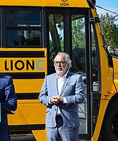en photo : M. Rhéal Fortin, candidat pour le Bloc Québécois <br /> alors que Le chef du Bloc Québécois, Yves-François Blanchet visite l'entreprise Lion Électrique,le 17 septembre 2021, dans le cadre des élections fédérales 2021.<br /> <br /> L'entreprise se spécialise dans la fabrication d'autobus électriques.<br /> <br /> M. Blanchet a fait la visite a compagnie du président fondateur, M. Marc Bédard ainsi que de M. Rhéal Fortin, candidat pour le Bloc Québécois dans la circonscription de Rivière-du-Nord.<br /> <br /> Mathieu Tye