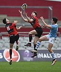 David Mc Namara and Conor Cahill of Ennis  in action against  Garryowen during their U-18 Munster Club Final at Thomond Park. Photograph by John Kelly.