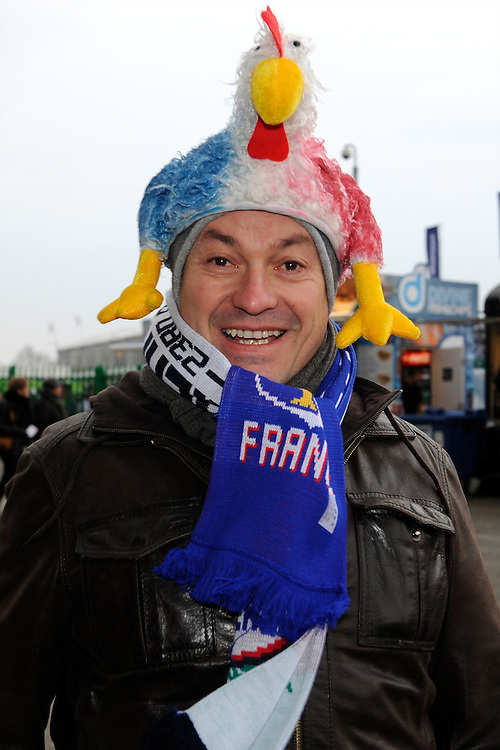 A French fan enjoys the atmosphere before the RBS 6 Nations match between England and France at Twickenham on Saturday 23rd February 2013 (Photo by Rob Munro)