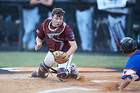 Kannapolis Post 115 catcher Austin Dayvault (11) tries to make a tag as Trent Little (1) of Mooresville Post 66 slides into home plate during an American Legion baseball game at Northwest Cabarrus High School on May 30, 2019 in Concord, North Carolina. Mooresville Post 66 defeated Kannapolis Post 115 4-3. (Brian Westerholt/Four Seam Images)