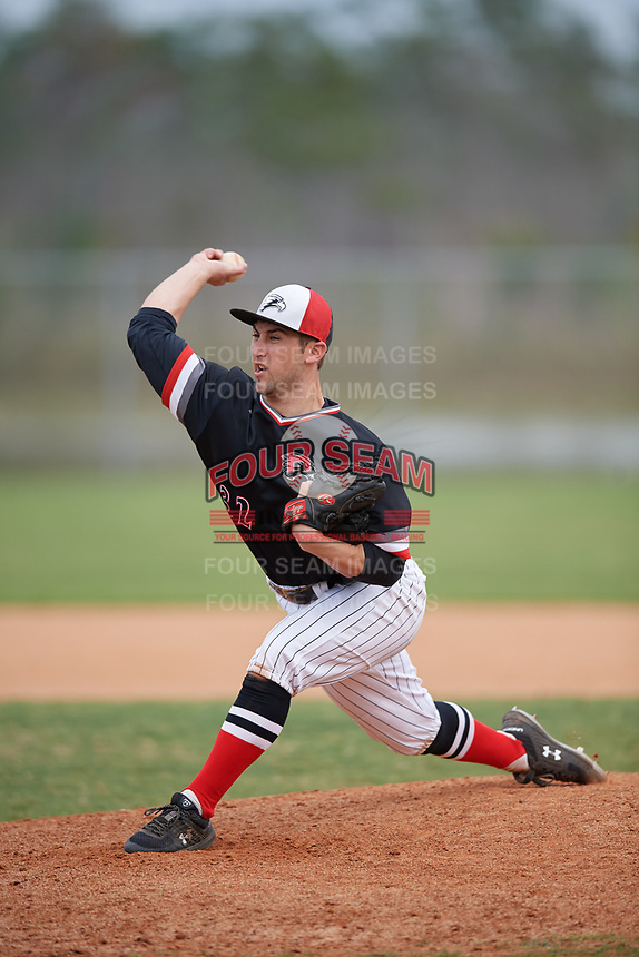 Edgewood Eagles starting pitcher Jake Sawinski (32) during a game against the South Vermont Mountaineers on March 18, 2019 at Lee County Player Development Complex in Fort Myers, Florida.  South Vermont defeated Edgewood 19-6.  (Mike Janes/Four Seam Images)