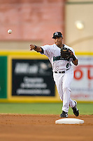 Shortstop Guillermo Martinez (6) of the Jupiter Hammerheads makes a throw to first base at Roger Dean Stadium in Jupiter, FL, Wednesday July 16, 2008. (Photo by Brian Westerholt / Four Seam Images)