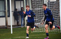 Owen Barnett celebrates his goal during the Central League football match between Miramar Rangers and North Wellington at David Farrington Park in Wellington, New Zealand on Saturday, 26 June 2021. Photo: Dave Lintott / lintottphoto.co.nz