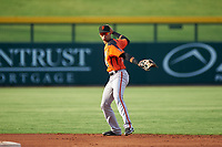 AZL Giants Orange second baseman Abdiel Layer (19) throws to first base during an Arizona League game against the AZL Cubs 1 on July 10, 2019 at Sloan Park in Mesa, Arizona. The AZL Giants Orange defeated the AZL Cubs 1 13-8. (Zachary Lucy/Four Seam Images)