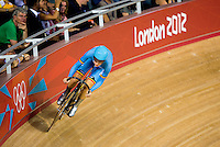 06 AUG 2012 - LONDON, GBR - Jolien d'Hoore (BEL) of Belgium  warms up for her Flying Lap during the first day of the Women's Omnium in the London 2012 Olympic Games track cycling at the Olympic Park Velodrome in Stratford, London, Great Britain.(PHOTO (C) 2012 NIGEL FARROW)
