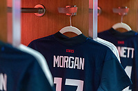 ORLANDO, FL - FEBRUARY 24: Alex Morgan #13 of the USWNT has her jersey hung in the locker room before a game between Argentina and USWNT at Exploria Stadium on February 24, 2021 in Orlando, Florida.