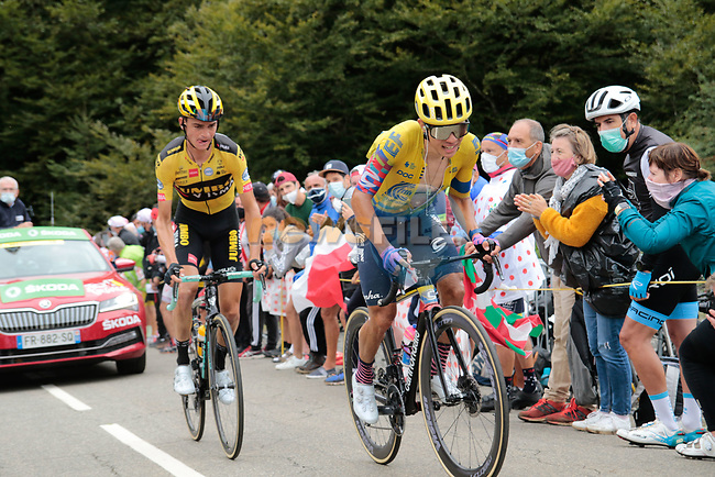 Colombian Champion Sergio Andres Higuita Garcia (COL) EF Pro Cycling and Sepp Kuss (USA) Team Jumbo-Visma climb Col de Marie Blanque during Stage 9 of Tour de France 2020, running 153km from Pau to Laruns, France. 6th September 2020. <br /> Picture: Colin Flockton | Cyclefile<br /> All photos usage must carry mandatory copyright credit (© Cyclefile | Colin Flockton)