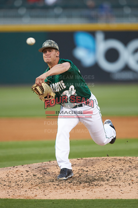 Charlotte 49ers relief pitcher Matt Horkey (22) delivers a pitch to the plate against the North Carolina State Wolfpack at BB&T Ballpark on March 29, 2016 in Charlotte, North Carolina. The Wolfpack defeated the 49ers 7-1.  (Brian Westerholt/Four Seam Images)
