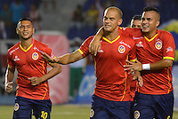 BARRANQUIILLA -COLOMBIA-27-03-2014. Alan Navarro (C) jugador de Uniauntónoma celebra un gol anotado a Atlético Junior en partido por la fecha 9 de la Liga Postobón I 2014 jugado en el estadio Metropolitano de la ciudad de Barranquilla./ Uniautonoma player Alan Navarro (C) celebrates a goal scored to Atletico Junior during match valid for the 9th date of the Postobon League I 2014 played at Metropolitano stadium in Barranquilla city.  Photo: VizzorImage/Alfonso Cervantes/STR